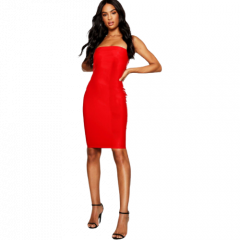 BANDEAU MINI DRESS | RED