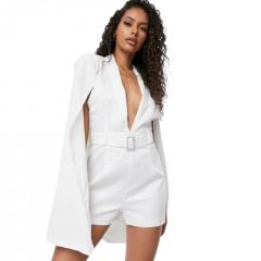 BELTED CAPE PLAYSUIT | WHITE