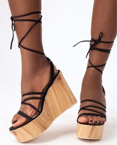 NELLY TIE UP WEDGE SANDAL