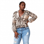 BLOUSE WITH FILL DETAILS | LEOPARD